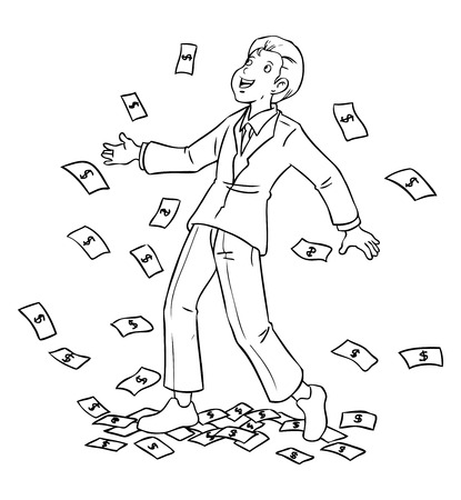 wealthy man: Cartoon illustration of a businessman rained for money Illustration