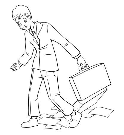 caricaturas de personas: Ilustración de dibujos animados de un hombre de negocios camina lento