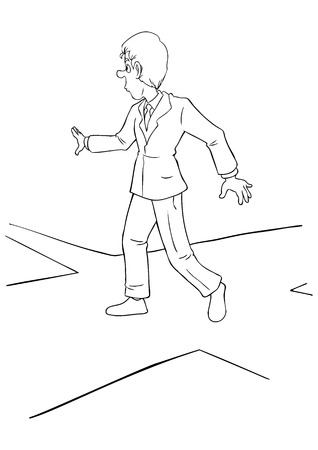 junction: Cartoon illustration of a businessman at the intersection Illustration