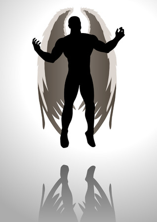 Silhouette illustration of an angel figure