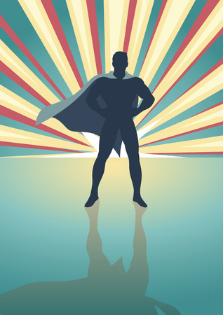 man shadow: Silhouette illustration of a superhero standing in front of colorful light burst