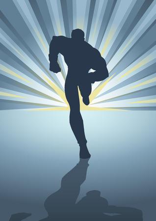 Ilustración de la silueta de una figura masculina muscular, corriendo delante de explosión de la luz