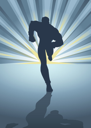 Silhouette illustration of a muscular male figure running in front of light burst Illustration