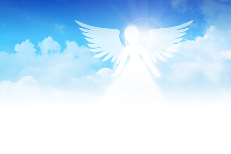 Illustration of an angel on clouds background illustration
