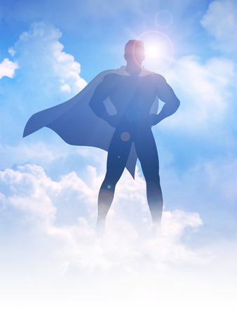 Silhouette illustration of a superhero on clouds background