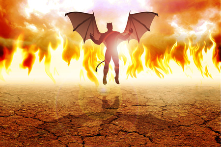 hellfire: Silhouette illustration of the Devil on fire background