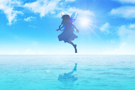 angel girl: Silhouette illustration of a pixie flying on blue water Stock Photo