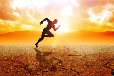 Silhouette eines Sprinters auf Dürre Land laufen