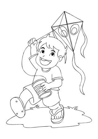 Outline illustration of a boy playing with kite Vector