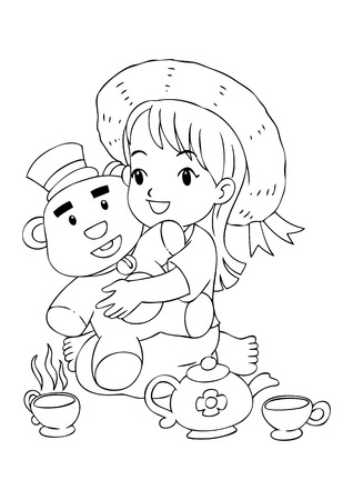 Outline illustration of a girl playing with her toys Vector
