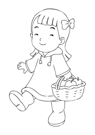 Outline illustration of a little girl carrying a basket of apples Vector
