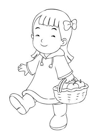 small basket: Outline illustration of a little girl carrying a basket of apples Illustration