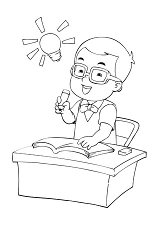 Outline illustration of a boy were studying Vector