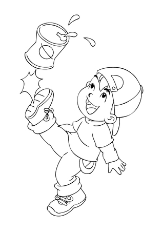 naughty child: Outline illustration of a boy kicking an empty cans