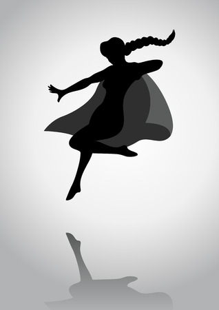 sci: Silhouette of a female figure with hero suit