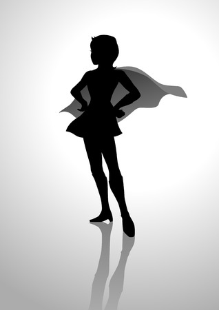 Silhouette of a female figure with hero suit