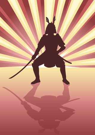 bushido: Illustration of an armored samurai on light burst background