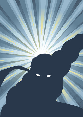 Silhouette illustration of a masked hero Иллюстрация