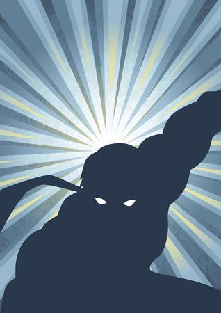 Silhouette illustration of a masked hero Illustration