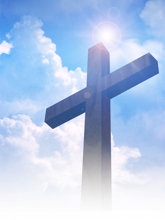 cross light: A cross on clouds background Stock Photo