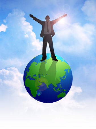 Silhouette illustration of a man figure standing on globe with open arms