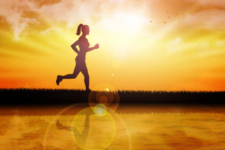 river bank: Silhouette illustration of a female figure were jogging at the river bank Stock Photo