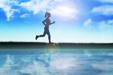 river bank: Silhouette illustration of a female figure were jogging in the outdoor