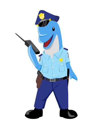 policia caricatura: Ejemplo lindo de un delf�n como polic�a Vectores