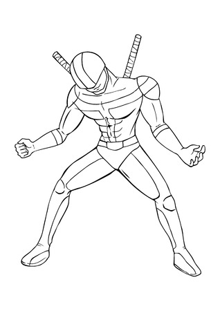 comic book character: Outline illustration of a superhero