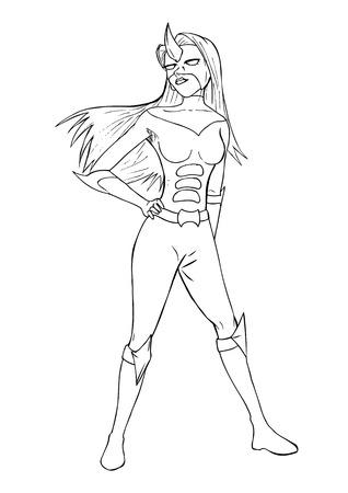 superheroine: Outline illustration of a super-heroine
