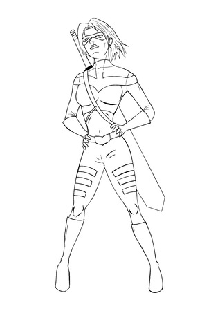 heroism: Outline illustration of a super-heroine