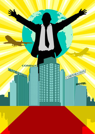 conglomerate: Illustration of a man in business suit standing behind buildings with open arms