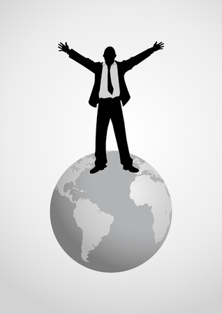 conqueror: Silhouette illustration of a man figure standing on globe with open arms