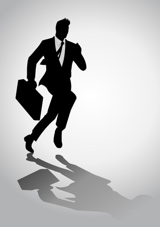 Silhouette illustration of a businessman running with a briefcase Çizim