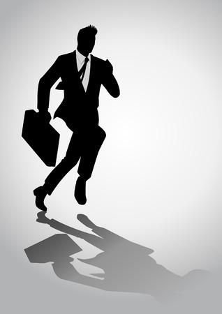 Silhouette Illustration von einem Geschäftsmann läuft mit einer Aktentasche