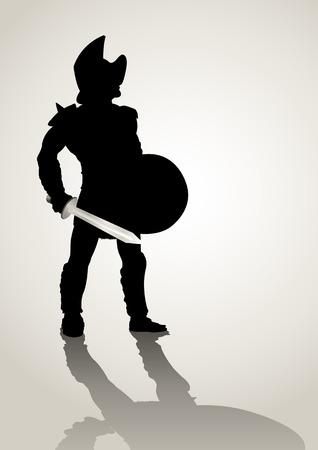escudo: Ilustraci�n de la silueta de un gladiador que sostiene un escudo y gladius