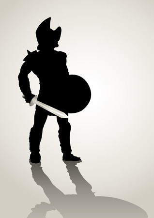 Silhouette illustration of a gladiator holding a shield and gladius Vector