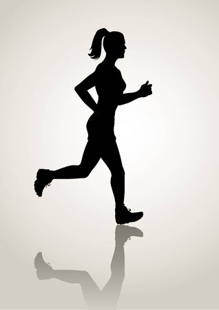 Ilustración de la silueta de una figura de mujer para correr