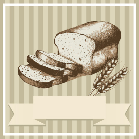 Sketch illustration of sliced bread and wheat for menu or card design Vector