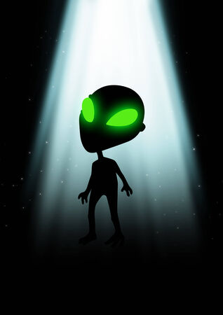 Illustration of an alien with glowing green eyes illustration