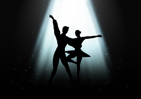 Silhouette Illustration of a couple ballet dancing illustration