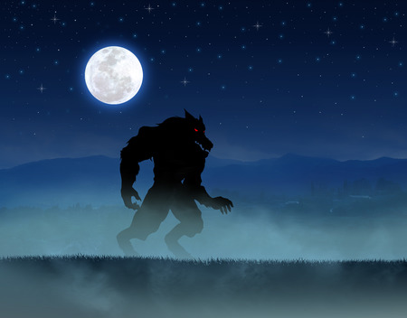 lurid: Illustration of a werewolf during the full moon