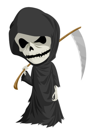 Cartoon illustration of grim reaper with scythe isolated on white