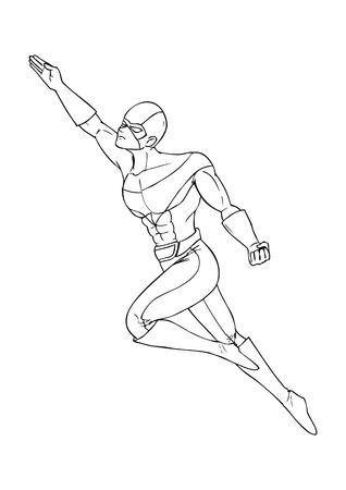 Outline illustration of a superhero flying Vector