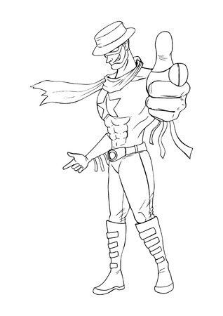 action hero: Outline illustration of a superhero pointing
