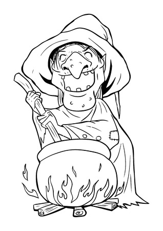 wicked witch: Outline illustration of a witch stirring concoction in the cauldron