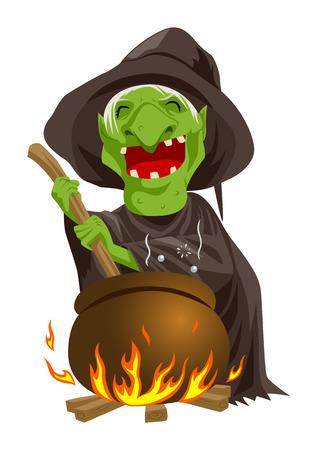 Cartoon illustratie van een heks roeren brouwsel in de ketel Stockfoto - 31525454