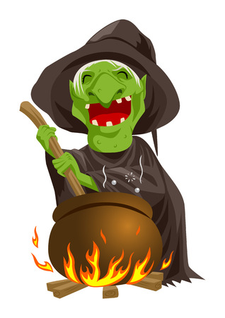 wicked: Cartoon illustration of a witch stirring concoction in the cauldron