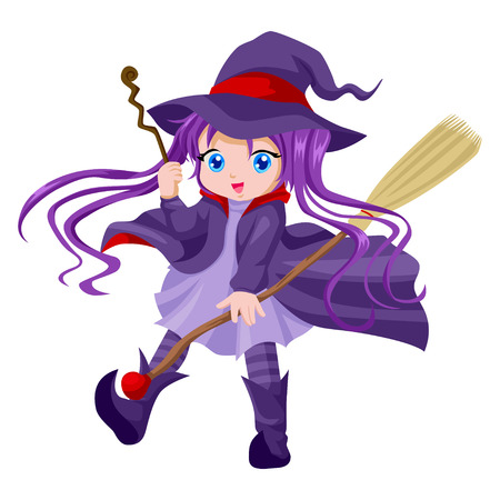 Cartoon illustration of a cute witch with her broom and magic wand Vector