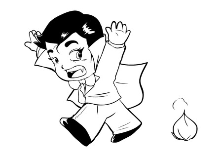 kiddies: Outline illustration of Dracula afraid of garlic
